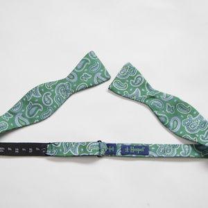 Haspel Silk Green/Blue Paisley Formal Bowtie